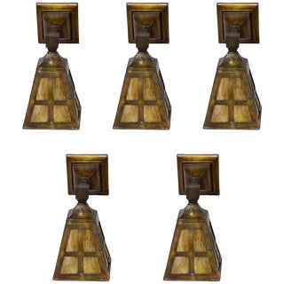 Arts and Crafts Slag Glass Sconces - Set of 5 For Sale