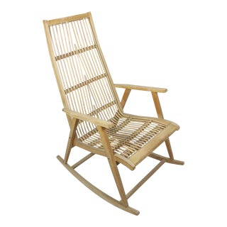 Vintage Mid Century Scandinavian Rattan Rocking Chair For Sale