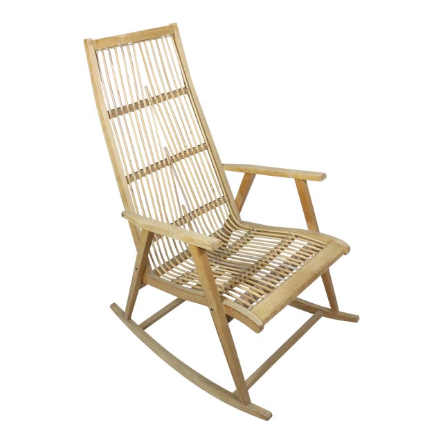 Strange Vintage Mid Century Scandinavian Rattan Rocking Chair Gmtry Best Dining Table And Chair Ideas Images Gmtryco