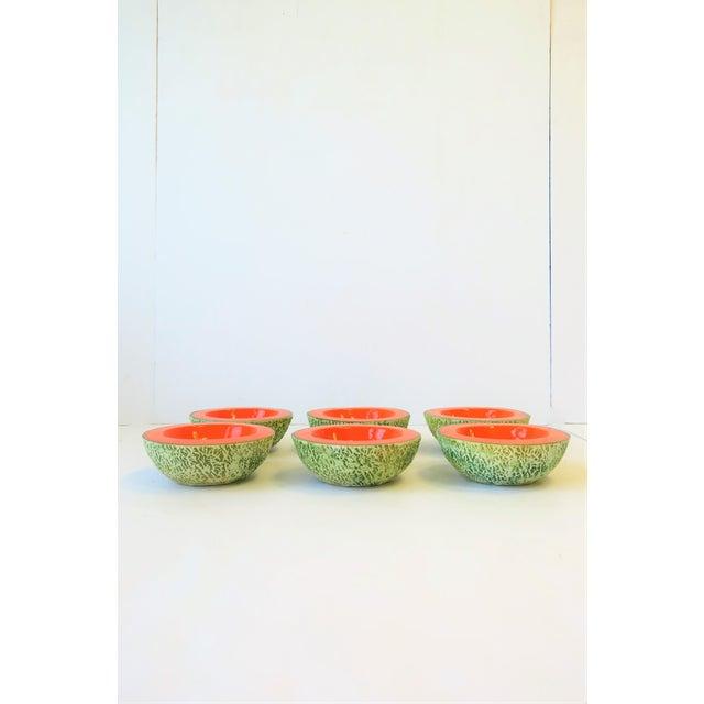 Italian Italian Designer Matte Ceramic Pottery Orange Melon Fruit Sculpture Bowls For Sale - Image 3 of 9