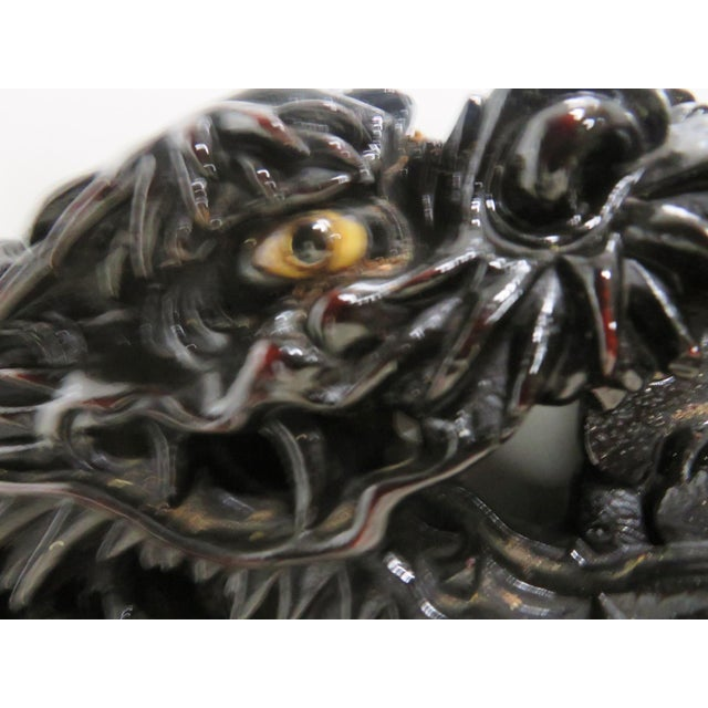 Ebonized Chinese Dragon Carved Oval Mirror - Image 7 of 8