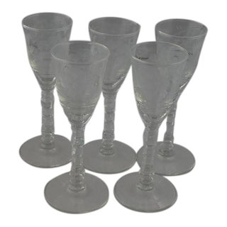 Libbey Etched Cordial Glasses- Set of 5 For Sale