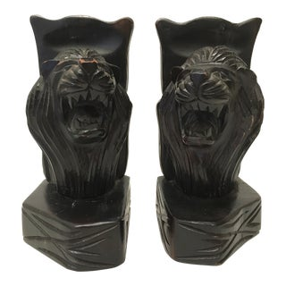 Hand Carved Lion Bookends - a Pair