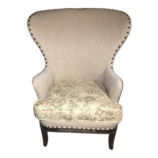 Antique Wide Wingback Chair For Sale