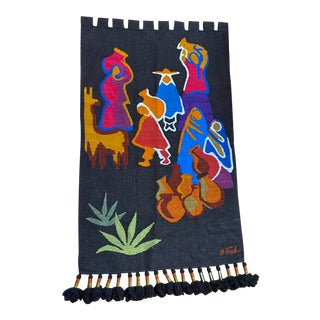 Vintage Olga Fisch Woven Wall Hanging With Brass Tassel Accents For Sale
