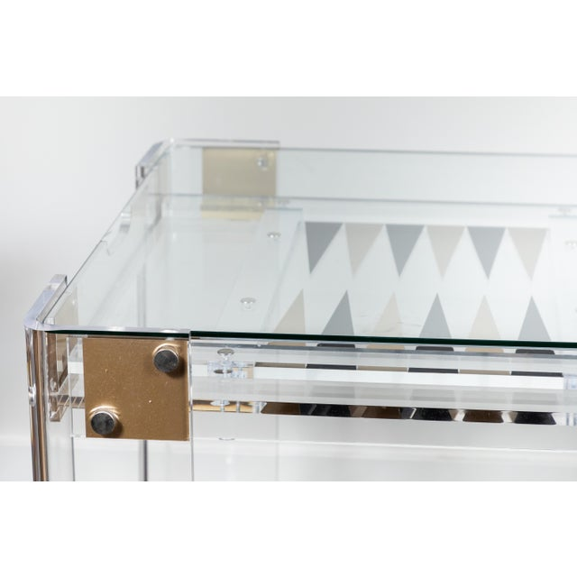 1980s Lucite Backgammon Table in the Manner of Charles Hollis Jones For Sale - Image 5 of 11
