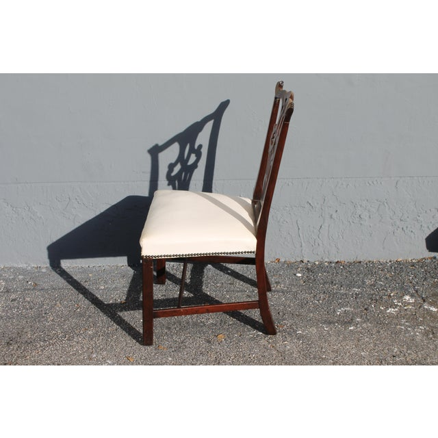 Vintage Mid-Century Chippendale Style Carved Mahogany Occasional Chair For Sale - Image 9 of 12
