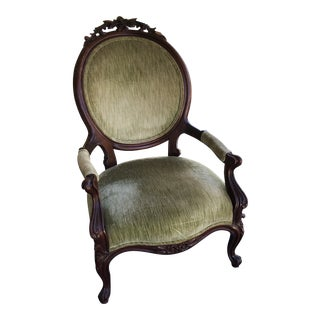 1970s Traditional Green Velvet Hand Carved Floral Chair For Sale
