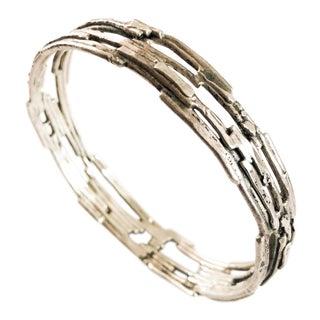 Vintage Mid Century Brutalist Silver Bangle Bracelet For Sale