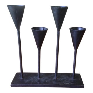 Vintage Modernist Black Metal Candle Holder For Sale
