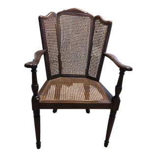 Traditional Caned Wingback Chair For Sale