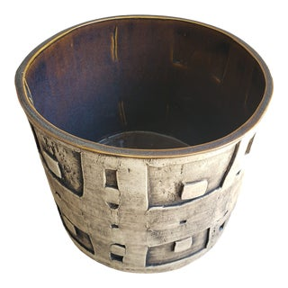 Basket-Style Ceramic Planter For Sale