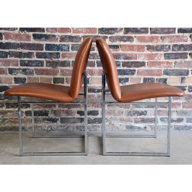 Vintage Mid-Century Milo Baughman Chrome & Upholstered Side Chairs - A Pair For Sale In Chicago - Image 6 of 6