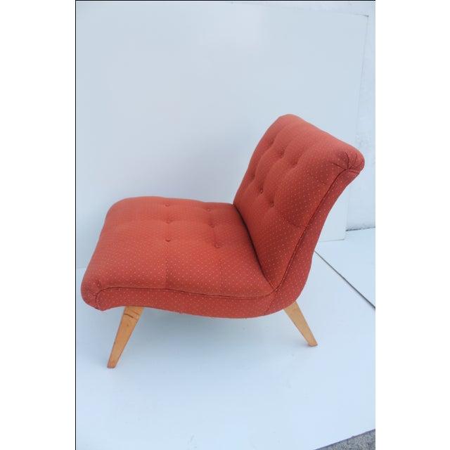 Danish Modern Jens Risom for Knoll Red Slipper Chair For Sale - Image 3 of 11