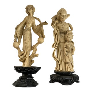 1960s Japanese Faux Ivory Figures, Italy - a Pair For Sale