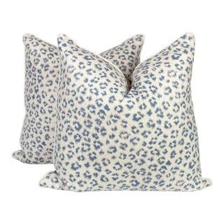 Light Blue Linen Leopard Pillows - a Pair