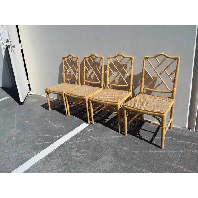 Yellow Set of Four Faux Bamboo Carved Wood Chairs For Sale - Image 8 of 12