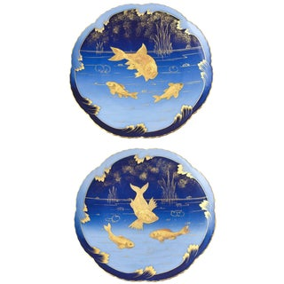 19th Century Art Nouveau Porcelain Gold and Blue Fish Plates - a Pair For Sale