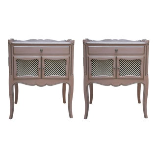 Pair of Pink Painted and Parcel Silver Commodes, 20th Century For Sale