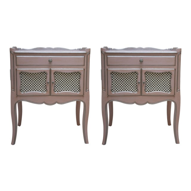 Pair of Pink Painted and Parcel Silver Commodes, 20th Century - Image 1 of 10