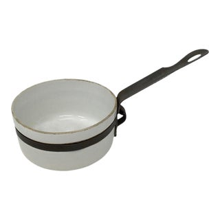 Small Porcelain and Metal Sauce Pan For Sale