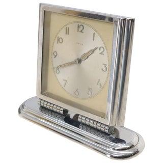 Folding Swivel Base Art Deco Polished Chrome Travel Table Desk Clock Kienzle For Sale