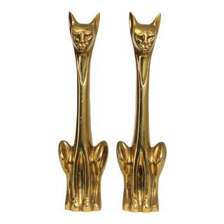 Mid Century Modern Pair Brass Cat Sculpture Andirons For Sale