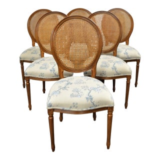 Louis XVI Style Caned Back Dining Chairs with Silk Screen Print Upholstered Seats - Set of 6 For Sale