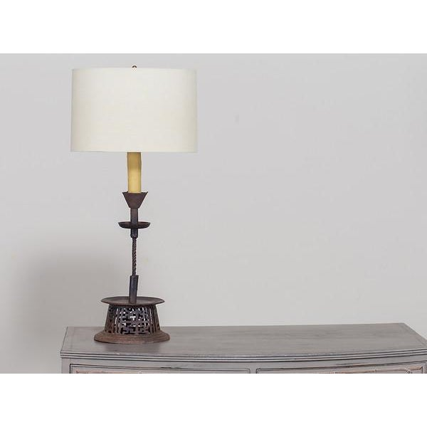 Anglo-Indian 19th Century Indian Handsome Hand-Made Antique Iron Candlestick Lamp For Sale - Image 3 of 8