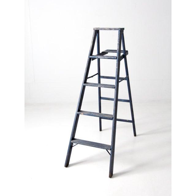 Vintage Blue Wooden Ladder For Sale - Image 10 of 10