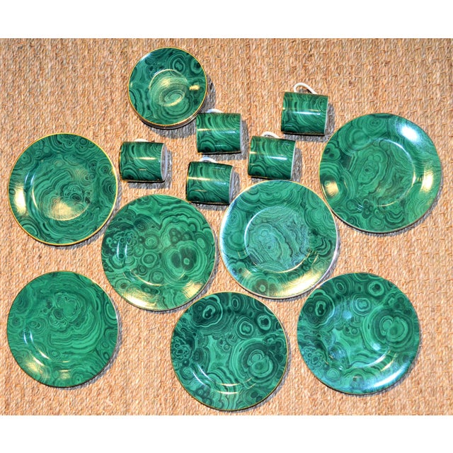 Neiman Marcus Malachite Dinnerware - Set of 19 For Sale - Image 5 of 10
