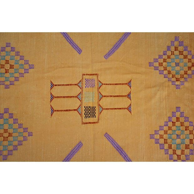 """This lovely 4'7"""" x 3' Moroccan cactus silk rug in orange and lavender was handwoven by the Berber people of the Atlas..."""