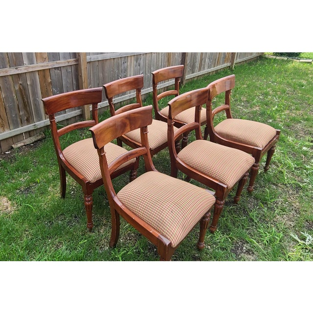 Traditional 20th Century Reproduction Mahogany Empire Style Dining Room Chairs - Set of 6 For Sale - Image 3 of 13