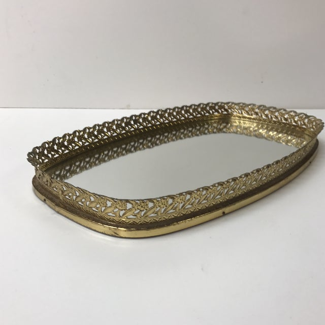 1970s Vintage French Filigree Medium Oval Vanity Tray With Mirror For Sale - Image 5 of 6