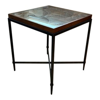 Papyrus Carved End Table With Glass Insert For Sale