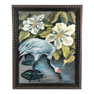 Original Framed Chalk on Board Sandhill Crane With White Flowers - Signed Williams For Sale
