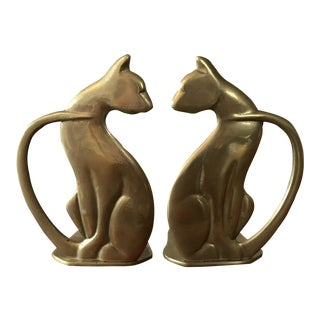 1970s Vintage Brass Cat Bookends - a Pair