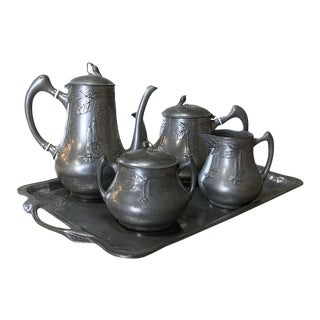Art Nouveau Period French Pewter Coffee Service Set For Sale