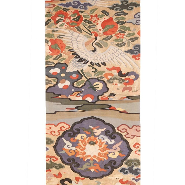 Antique Chinese Kesi Silk Tapestry Weave Chair Cover Panel Fabric For Sale - Image 4 of 13