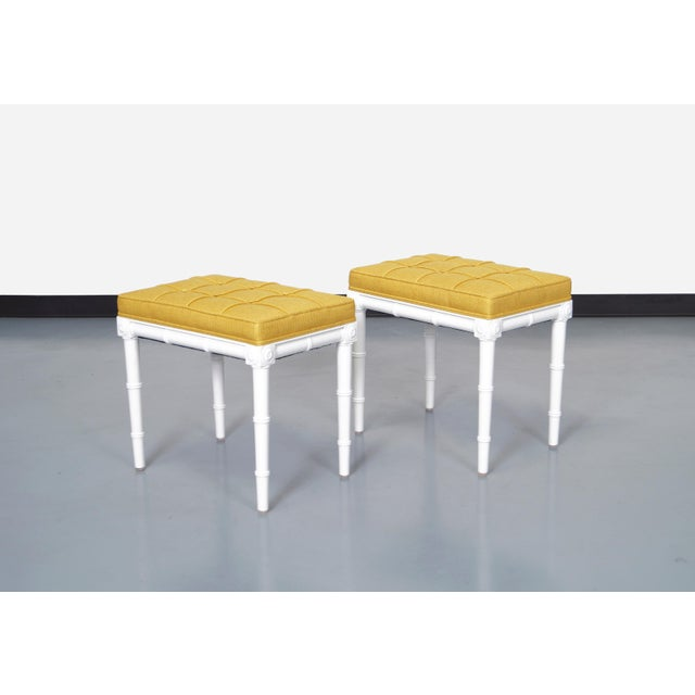 Gorgeous pair of vintage faux bamboo stools. Newly reupholstered in a knack mustard fabric. Please message us if you need...