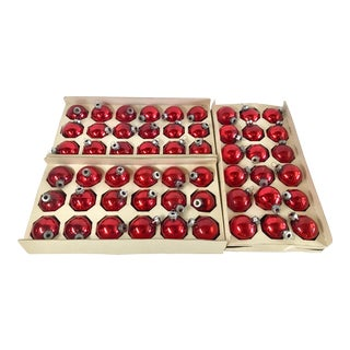 Vintage Red Glass Holiday Balls - Set of 54 For Sale