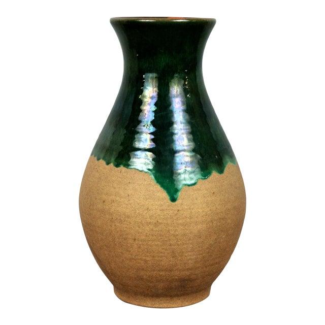 Vintage West Germany Handmade Ceramic Vase With Green Glazed Detail For Sale