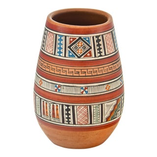Peruvian Hand-Painted Vase For Sale