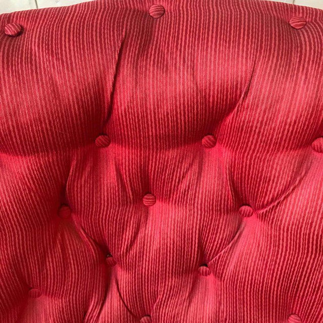 Pair of French Upholstered Armchairs in Red Fabric For Sale - Image 10 of 11