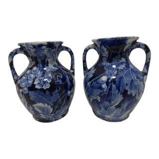 "Druva Rörstrand Porcelain Wine ""Grape"" Vase - a pair For Sale"