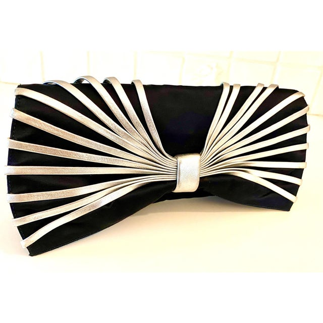 Rodo Navy Silk Clutch With Metallic Silver Leather Detail For Sale In New York - Image 6 of 10
