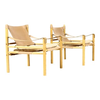 Mid Century White Oak + Leather Arne Norell Sirocco Lounge Chairs - a Pair For Sale