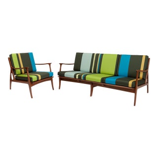 Vintage Italian Mid-Century Sofa & Chair For Sale