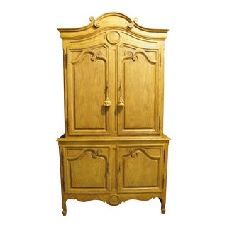 20th Century French Country Baker Furniture Pickled Oak Wardrobe Linen Cabinet For Sale