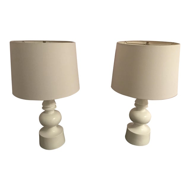 West Elm Turned Table Lamps - A Pair For Sale
